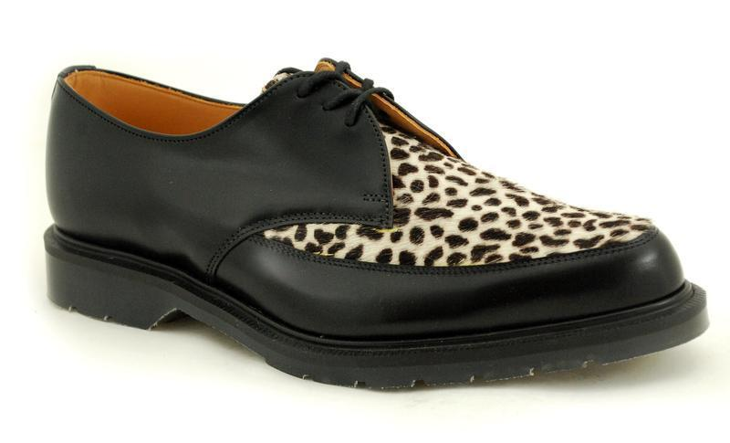 Solovair Nps shoes Made in England 3 Eye Black Leopard Pointed shoes S010-x19