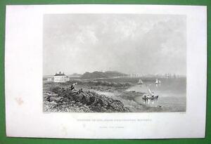 BOSTON-in-1774-1860s-Antique-Print