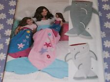"""SIMPLICITY 8275 SHARK & MERMAID BLANKETS FOR CHILD-ADULT-18"""" DOLL PATTERN--UNCUT"""