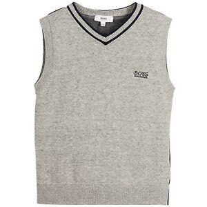 Hugo Boss Boys Cotton Knitted Slipcover Vests Gray Navy Size 6 Fits 3-4