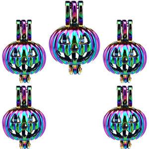 5pcs-Pack-Rainbow-Color-Halloween-Pumpkin-Beads-Cage-Locket-Pendant-C389