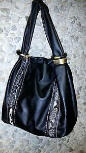 Black-with-snakeskin-print-woman-039-s-handbag-only-15-99