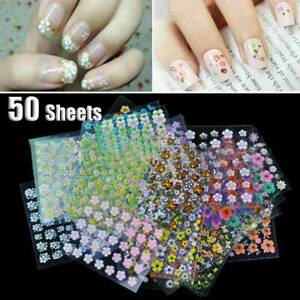 50-Sheets-3D-Design-Nail-Art-Sticker-Tips-Decal-Flower-Manicure-Stickers-DIY
