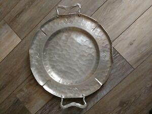 Vintage-14-034-Buenilum-Hammered-Aluminum-Round-Tray-With-Handles