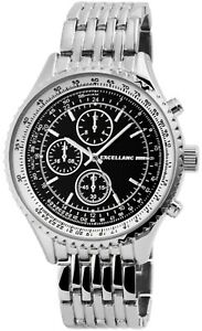 Excellanc-Herrenuhr-Schwarz-Analog-Chrono-Look-Metall-Armbanduhr-X2800045001