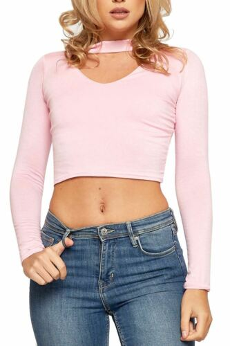Ladies Womens Plain Basic Long Sleeves Choker V-Neck Stretch Short Crop Top