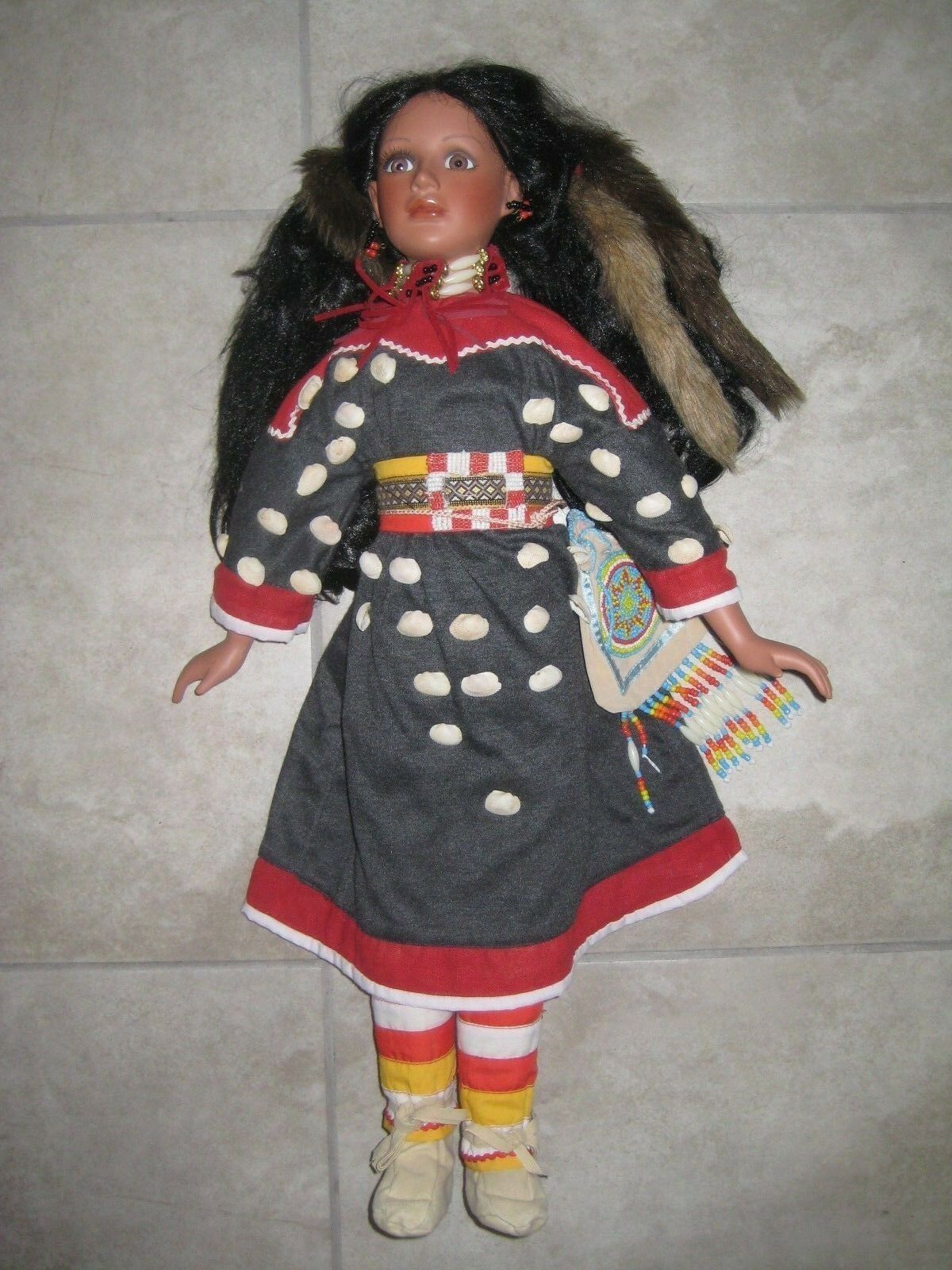 Timeless Collection Lady Fox Native American Indian Porcelain Doll 26  Used