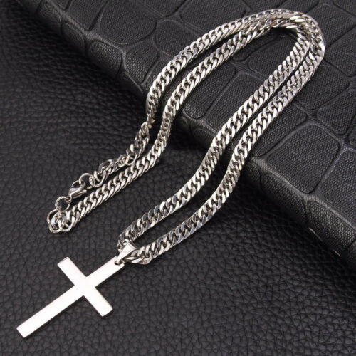 Silver//Gold Stainless Steel Cross Crucifix Pendant Curb Necklace Men Boy Jewelry
