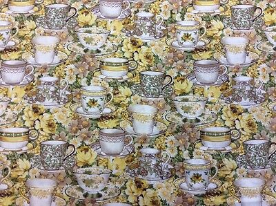 Patchwork Quilting Craft 100/% Cotton Afternoon Tea F361 Fabric Freedom