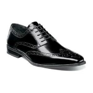 Stacy-Adams-Tinsley-Mens-Shoes-Black-buffalo-Leather-Wingtip-oxford-25092-001