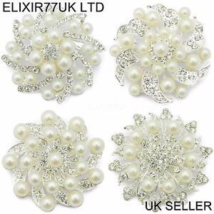 UK NEW SILVER FLOWER PEARL BROOCH DIAMANTE CRYSTAL WEDDING JOBLOT WHOLESALE LOT