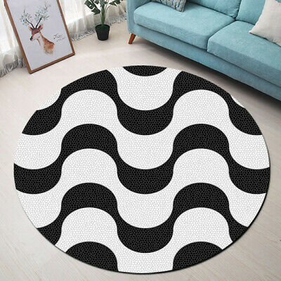 Round Floor Mat Black And White Wave Marble Texture Living Room Area Rugs Carpet Ebay