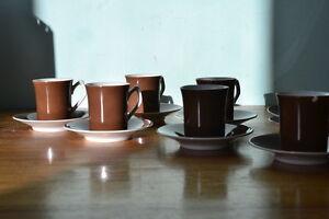 Vintage Trukish Halaca coffee cups & saucers ceramic short black x 6 No 597