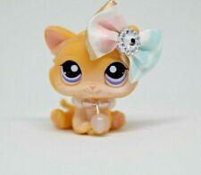 Littlest Pet Shop LPS #933 Orange Star Eye Siamese Kitty Purple Short Hair Cat