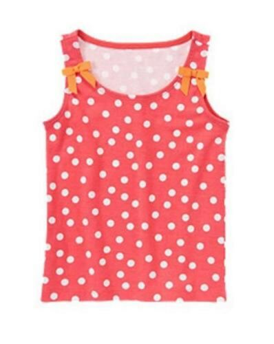 NWT Gymboree Girls Red Pink Polka Dot Bow Tank Top Size 4 5 6 7 /& 8