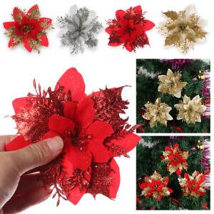 Christmas Tree Flowers Glitter Ornament Poinsettia Xmas Gift Artificial Decor Uk Ebay