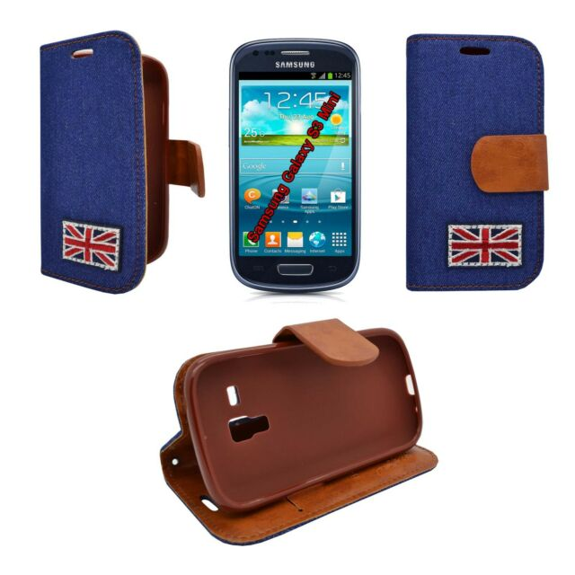 CASE COVER BLUE DENIM JEAN UNION JACK DESIGN WALLET FOR SAMSUNG GALAXY S3 MINI