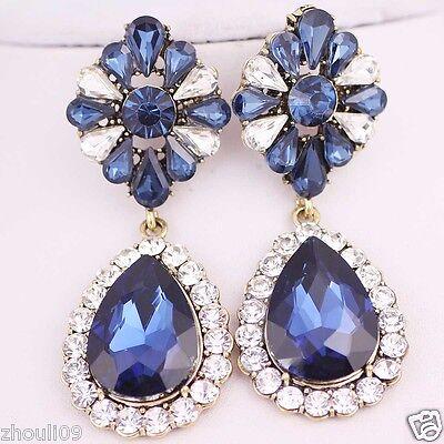 gorgeou Design Lady Bib Statement clear crystal long Ear Studs earrings hot e519