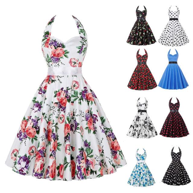 Hepburn Style Rockabilly Dress Women Evening Party 50s Swing Pinup Halter Dress
