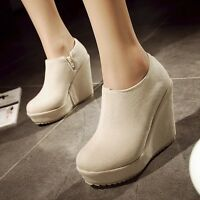 Womens Suede Side Zipper Platform High Wedge Heels Booties Ankle Boots Shoes