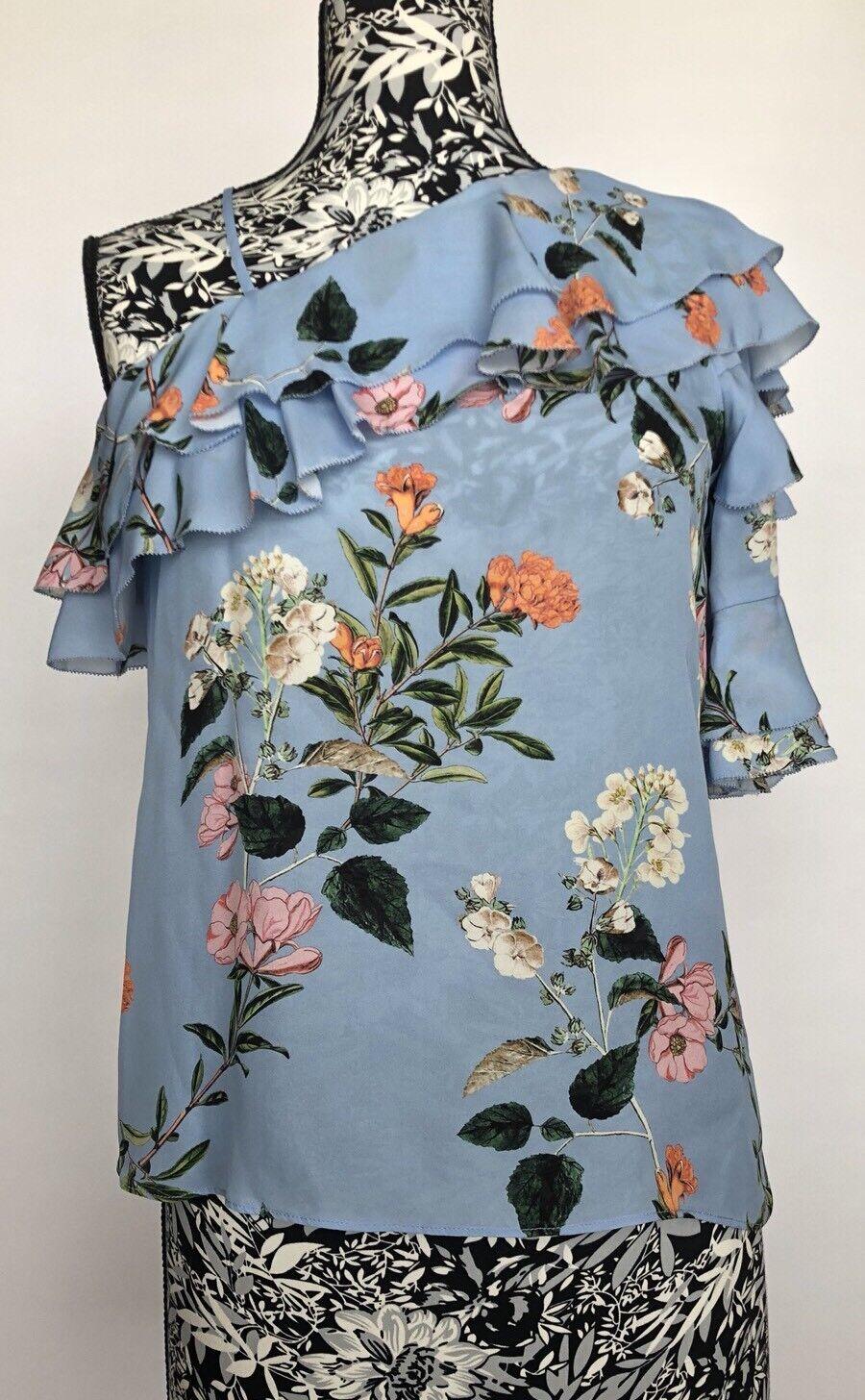 Parker damen Top Größe XS NWT 100% Silk Blau Floral One Shoulder