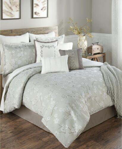 Hallmart Collectibles 14 Piece QUEEN Comforter Set Ayako Floral SAGE A910085