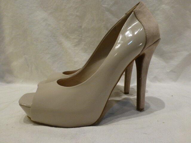 Damenschuhe Beige Patent Leder Suede Stiletto Heels Platform Pump Open Toe Schuhes 9M