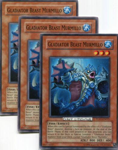 3 X YU-GI-OH GLADIATOR BEAST MURMILLO PROMO COMMON N//MINT TU01-EN015