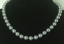 10MM Silver Gray South Sea Shell Pearl Necklace NEW (in a silk gift bag) B21