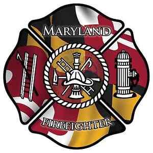 Maryland-Firefighter-4-034-Decal-Sticker-Maltese-Cross-State-Flag