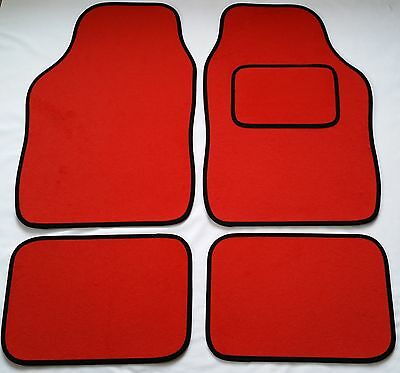 BLACK CAR MATS WITH RED HEART HEEL PAD FOR CITROEN C1 C2 C3 PICASSO DS3 C4 DS4
