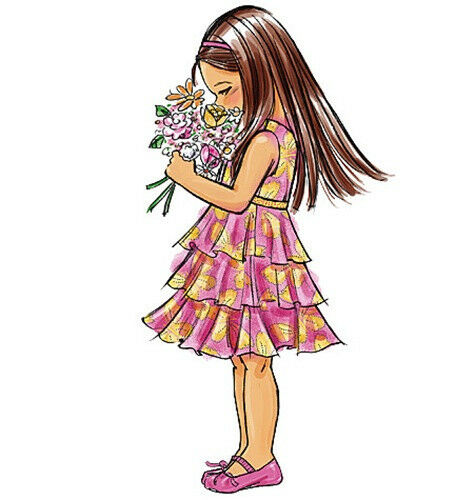 MAKES FANCY FLOWER GIRL DRESS SEWING PATTERN CHILD SIZES 2 TO 8 GIRL~WEDDING!