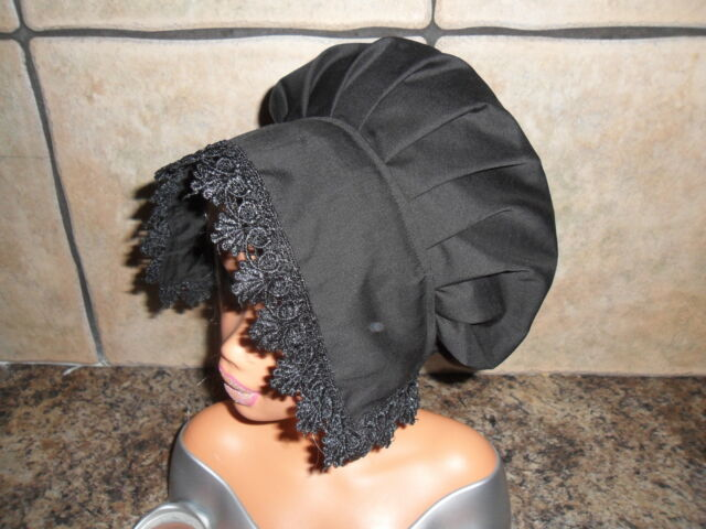 GIRLS/LADIES BLACK VICTORIAN/ EDWARDIAN/MEDIEVAL/GENTRY BONNET,COIF HAT