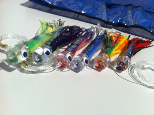 "6/"" Pusher Game Fishing Trolling Lures Skirted Marlin Tuna Rigged Mahi Set of 6"