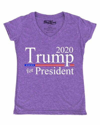 Trump For President 2020 Women/'s V-Neck T-shirt Maga Keep America Great Tee