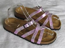 NEW Betula By Birkenstock Ladies Pink Shimmer Mules Sandals UK Size 3.5 EU 36