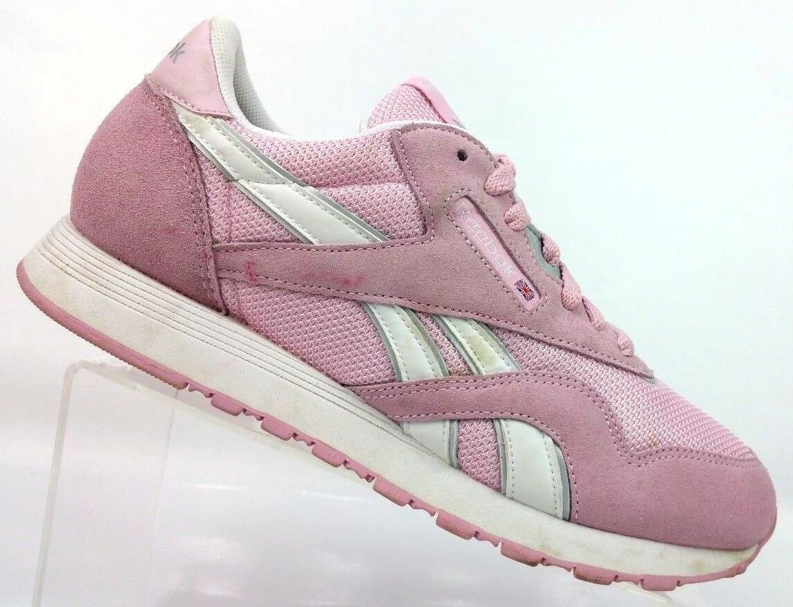 REEBOK Classic Pink White Silver Suede Workout Running Athletic shoes Women's 9