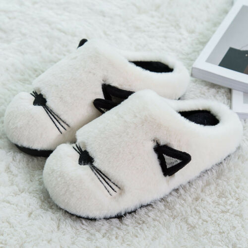 Unisex Cute Cat Lobe Faux Fur Fluffy Slip on Slippers Soft Lined Flats Shoes