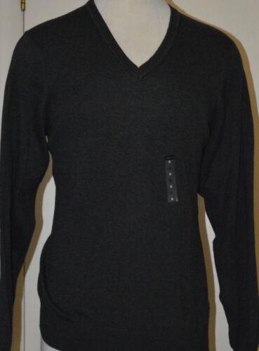 L Men/'s Van Heusen Black Heather Long Sleeve V-Neck Sweater Top Size M 2XL XL