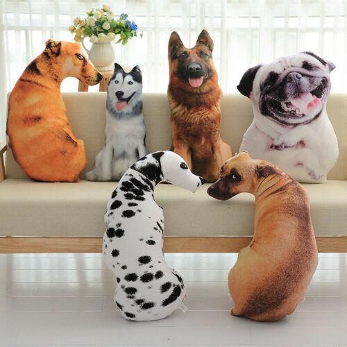 Simulation Stuffed 3D Hund Kissen Spielzeug Plüschtier Dekokissen Cushion Sofa