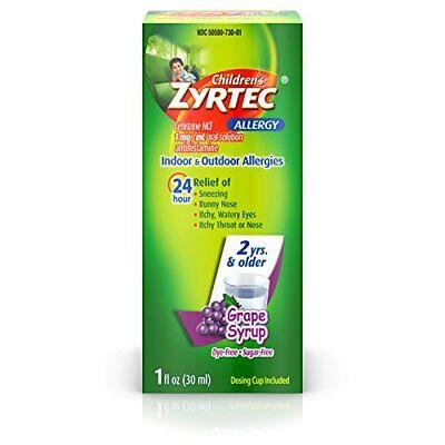 2 Pack Childrens Zyrtec Allergy Syrup Dye Free Sugar Free Grape 1oz Each