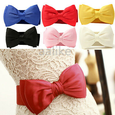 Elegant Elastic Women Laly Bowknot Bow Wide Stretch Buckle Waistband Waist Belt