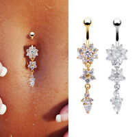 Crystal Flower Dangle Navel Belly Button Dangle Ring Bar Body Piercing Jewelry