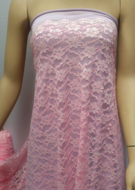 BEAUTIFUL ALLOVER TWO TONE PALE PINK LACE FABRIC :By the1/2 mtr : #0906PP
