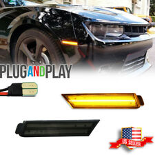 New Listingsmoked Lens Led Front Side Marker Lamps Withamber Led Light For 10 15 Chevy Camaro