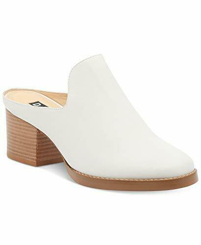 DKNY Womens Times Leather Stacked Heel Mules White 10 Medium, White, Size 5.0