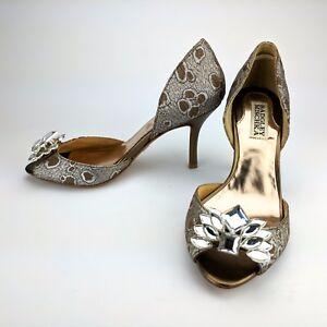 Badgley-Mischka-Crystal-Peep-Toe-Limited-Edition-d-039-Orsay-Pumps-Heels-Size-6-M