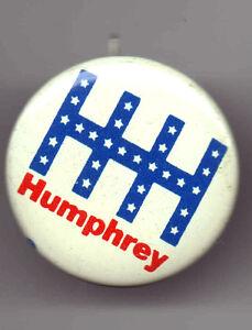 HHH  pin Hubert HUMPHREY 1968 pinback HHH Initials Monogram button