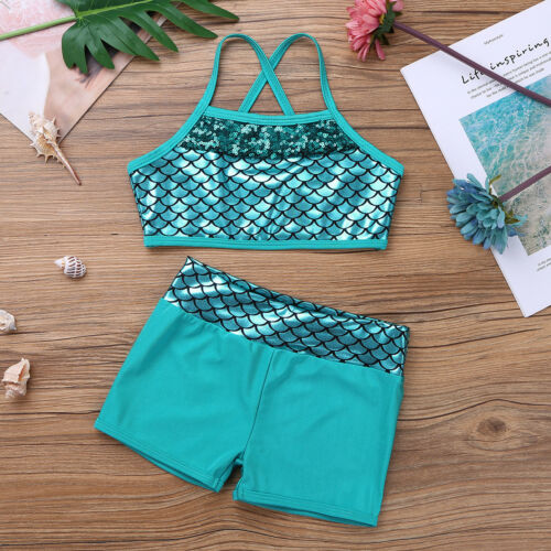 Kid Girl Dance Outfit 2-Piece Active Set Ballet Gym Sport Crop Top+Shorts Outfit