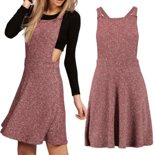Ladies Womens Ribbed Knitted Pinafore Dungarees Swing Skater Dress Mini Playsuit